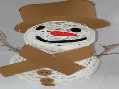 Como hacer muñeco de nieve con lana y  goma eva o foami manualidades tutorial DIY