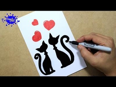 Como hacer una tarjeta de amor san valentin. How to draw a love card. Gatos enamorados
