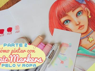 【Cómo pintar con Copic Markers】 PARTE 2 (Pelo y ropa) ❤