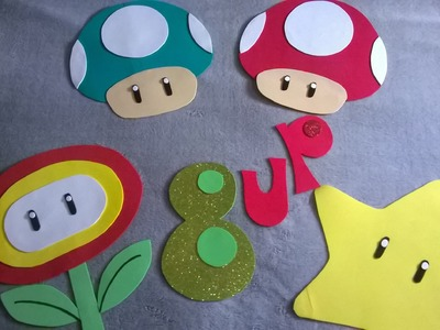 DIY Decoración de pared fiesta Mario bros y marco para fotos!!