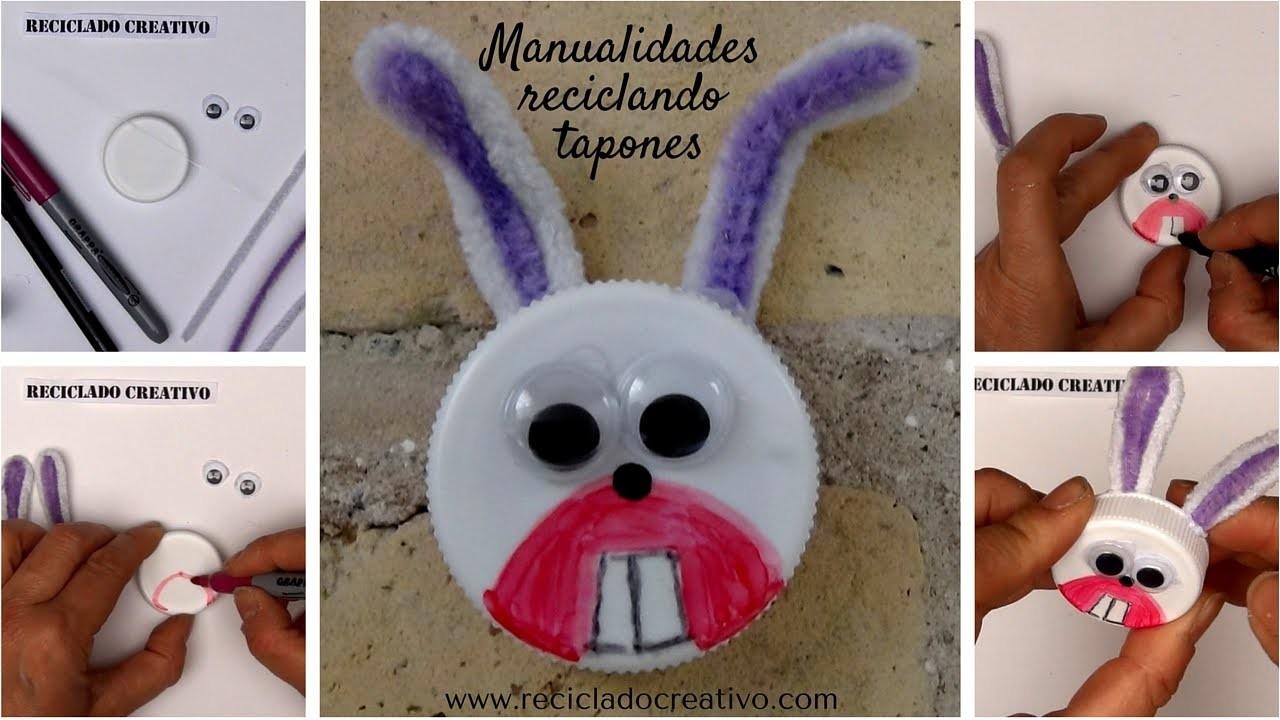 #11 Conejo hecho con una tapa de botella de plástico - Manualidad con niños - DIY