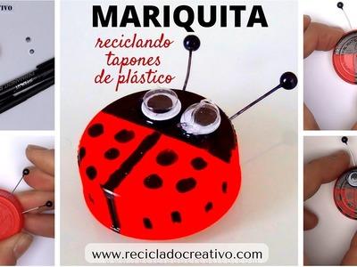 #3 Mariquita Manualidad para niños con tapones de botellas de plástico DIY
