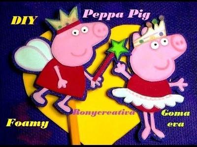 Manualidades faciles PEPPA PIG EN FOAMY o GOMA EVA - LAPIZ Y LIBRETA. Ronycreativa