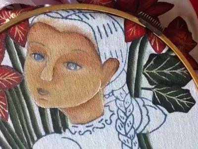 Pintura en tela cara de vendedora de nochebuenas tres con cony
