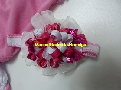 Pompon en cinta delgada para decorar moños para el cabello de las bebes