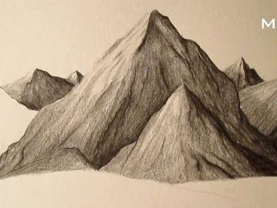 Cómo dibujar montañas a lápiz paso a paso, cómo aprender a dibujar paisajes