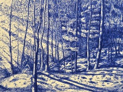 Cómo dibujar un bosque realista con pluma fuente- Arte divierte.