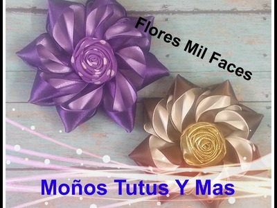 Como hacer FLOR MIL FACE Paso a Paso SATIN FLOWER HAIR BOW DIY How To Tutorial PAP