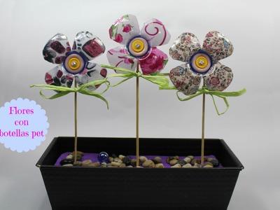Como hacer flores con botellas pet