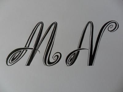 Letras tribales M y N. Bases elementales para dibujar letras tribales.
