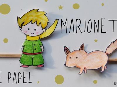 """Marionetas de papel de """"El principito"""". Manualidades fáciles para el Día del Libro"""