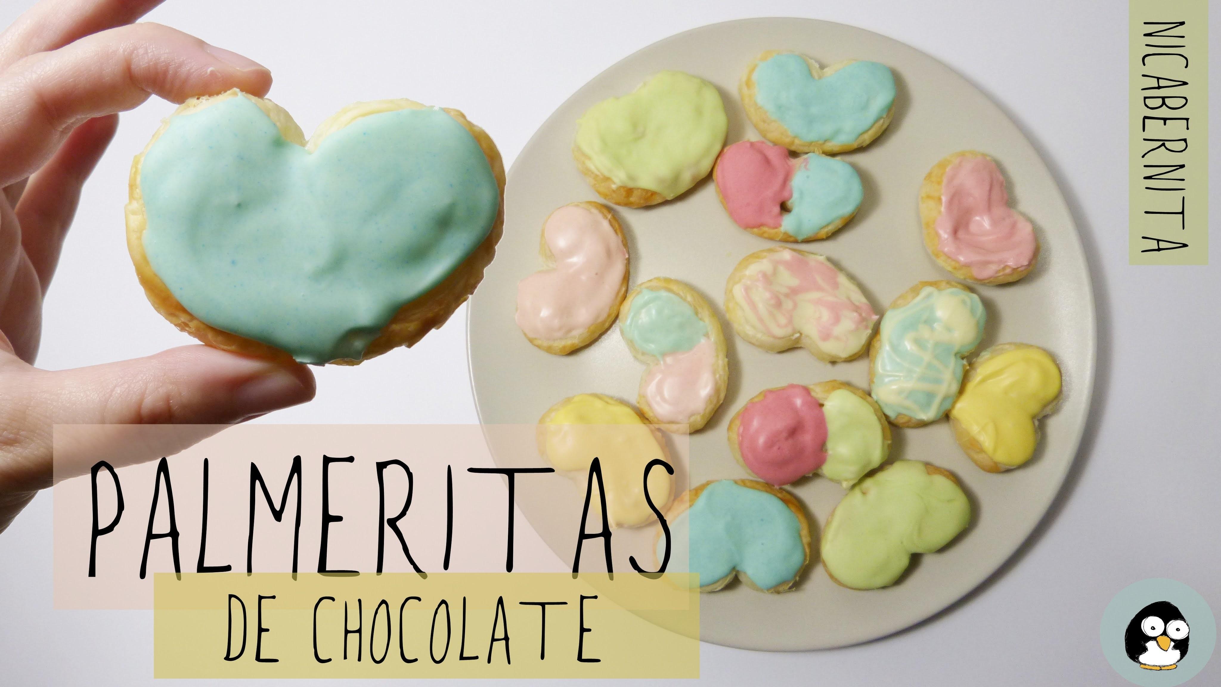 Palmeritas de colores con chocolate. Ideas para regalar a tu novio