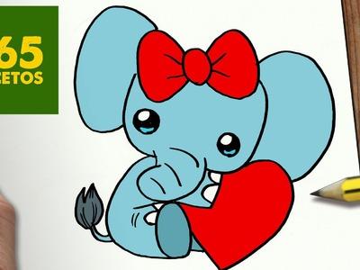 COMO DIBUJAR ELFANTE SAN VALENTIN KAWAII PASO A PASO - Dibujos kawaii faciles - draw ELEPHANT