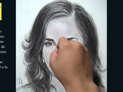 Como dibujar un retrato realista ( parte 2 ) con carbón - Emma Watson - Curso de dibujo