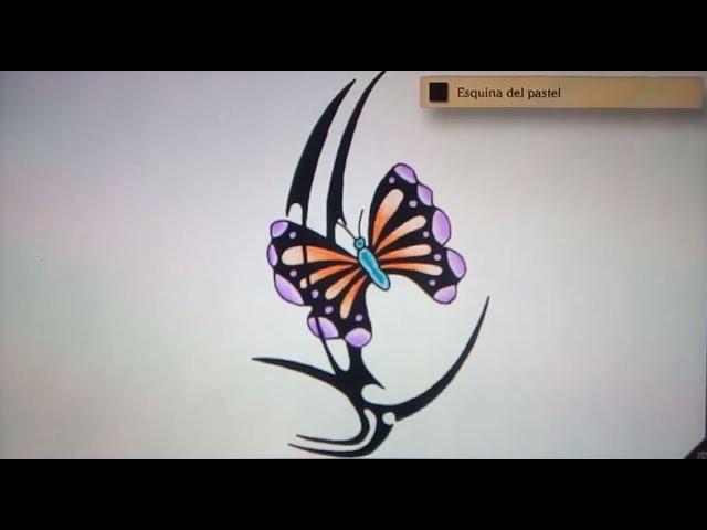 Como dibujar una mariposa tribal - Art Academy Atelier Wii U | How to draw a tribal butterfly