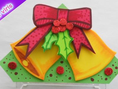 Como hacer servilleteros Navideños - Fiestas Navidad Campanas - Tutorial Inerya viris
