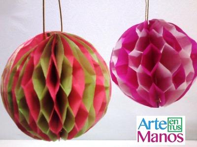 Festón en papelillo, Esferas en Papel Seda - Spheres in tissue paper - step by step