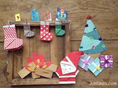 Origami fácil para niños: Papá Noel de papel - Manualidades navideñas para niños