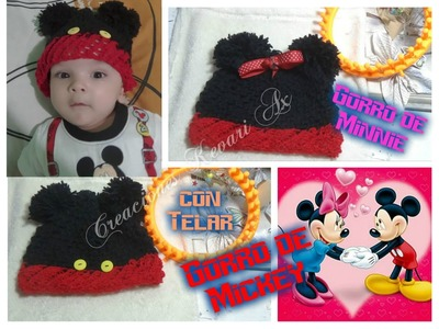 Gorro de Mickey y Minnie Mouse con Telar Circular.Mickey and Minnie Mouse Hat on Round Loom