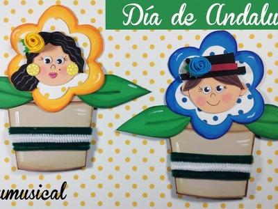 Manualidades Día de Andalucía Macetas