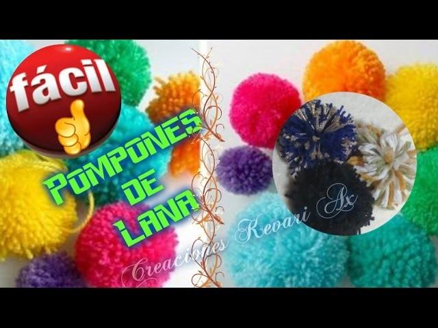 Pompones de Lana Version Fácil.How to make pom poms the easy way