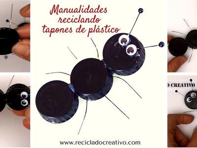#6 HORMIGAS DIY Manualidades con niños con tapones de plastico reciclados