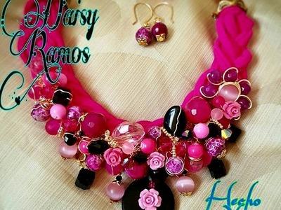 Maxi Collar de Trapillo, Agatas y Cristales Alambrismo DIY