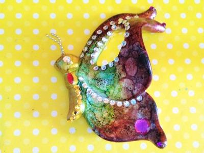 DIY pinta ceramica mariposas, halos, tintas, caparazon de tortuga painted ceramic butterflies