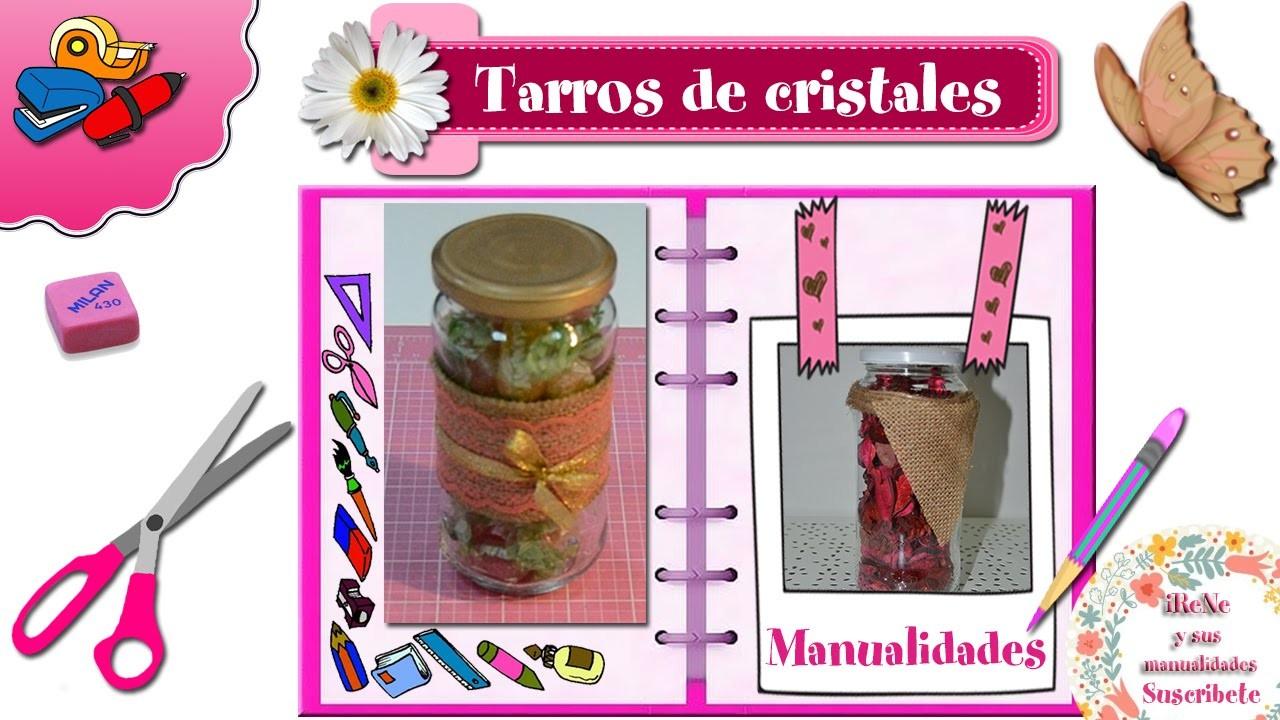 DIY Tarros de cristales decorados con tela de saco
