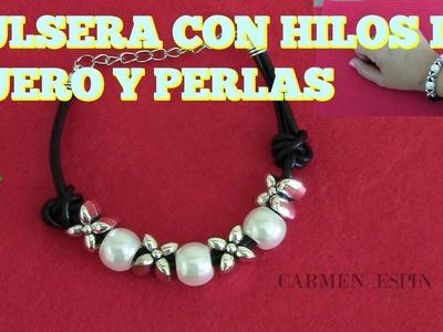 PULSERA CON HILO DE CUERO:DIY