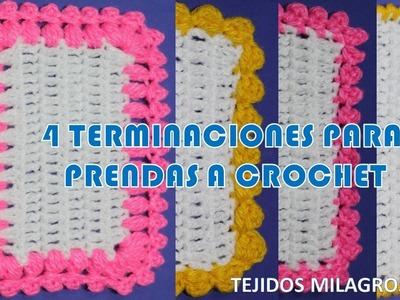 4 formas de terminaciones para tejidos a crochet o ganchillo fáciles de hacer