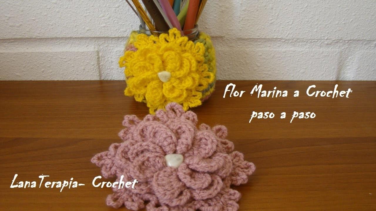 Flor Marina a crochet muy facil.  tutorial paso a paso. LanaTerapia