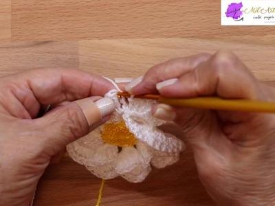 Flor para Gorra con Banda Crochet