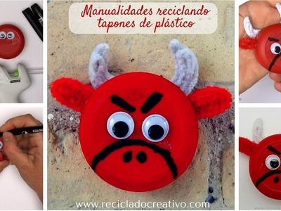 #7 Toro rojo. Manualidad para niños con tapones de plastico. DIY y reciclaje