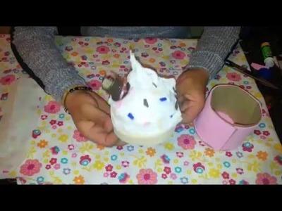 Como hacer caja en forma de Cupcake, para pulseras, aretes etc. DIY
