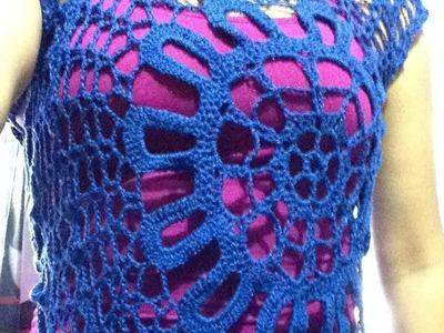 Blusa de medio circulo pt  1 de 2 a crochet - fácil y rápido!