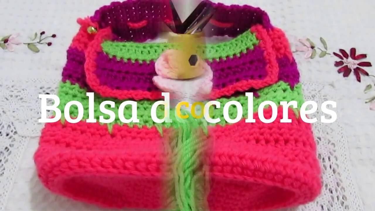 Como tejer bolsa en crochet y jugando con los colores