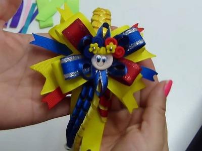 Diadema tejida facilmente  y moño multicolor, #517,  Pap Vinchas forradas con tejido