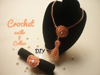 Manualidades: COLLAR y ANILLO a Crochet  de moda. Bisutería DIY ♥ Sor Amparo Arredondo R