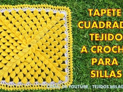 Tapete Cuadrado Tejido a Crochet para sillas