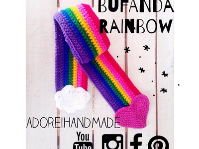Aplique Corazon crochet para Bufanda Rainbow video 3