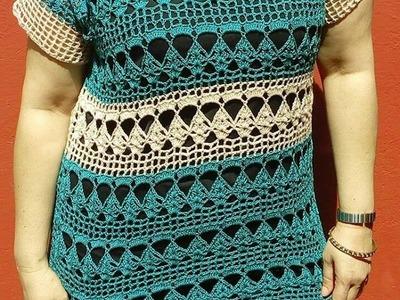 Bluson bicolor a crochet tejido rapido y facil parte 1