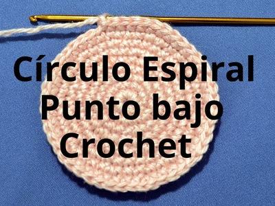 Círculo Espiral con Punto Bajo en tejido crochet tutorial paso a paso.