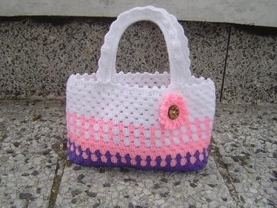Como tejer cartera o bolso para niña en crochet paso a paso