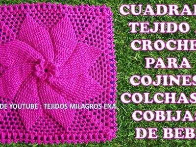Cuadrado tejido a crochet # 2 para cojines, colchas y cobijas para bebe