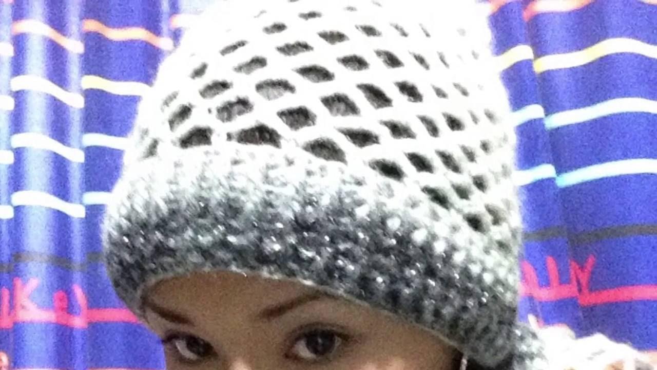 Gorrito calado - Punto de Red fácil a crochet