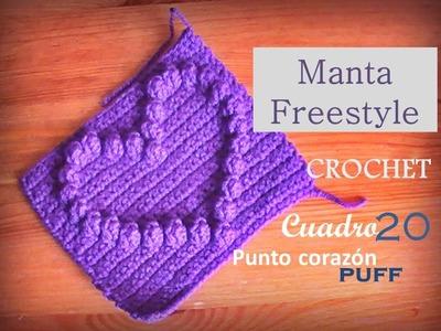 Manta a crochet FreeStyle cuadro 20: punto de corazón con punto puff (zurdo)