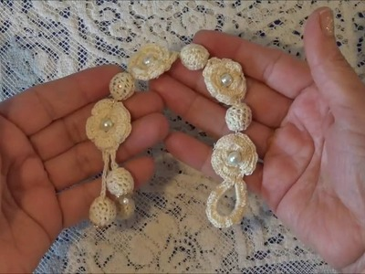 Pulcera o brazalete tejida a crochet paso a paso parte1