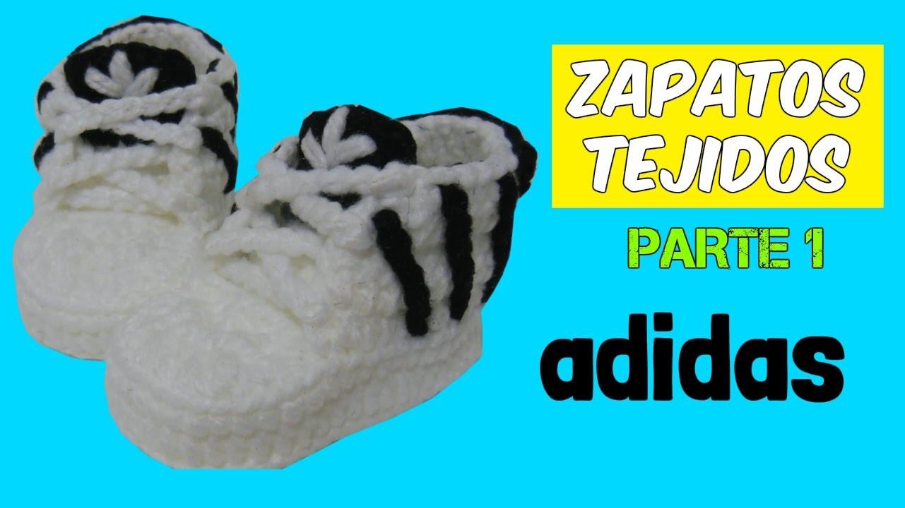 Zapatitos adidas tejidos a crochet 3-6 meses  | parte 1.2