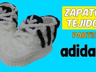 Zapatitos adidas tejidos a crochet 3-6 meses  | parte 2.2